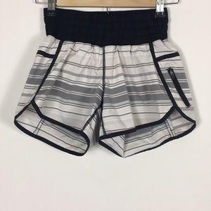 Lululemon White With Grey Stripes Tracker Shorts